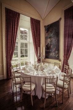 Dining room at Luttrellstown Castle set up for a wedding reception. Wedding Shoot, Wedding Reception, Wedding Venues, Irish Wedding, Photography Services, High Quality Images, Dublin, Castle, Dining Room