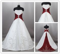 Custom 2015 Burgundy and White Wedding Dresses Vintage Strapless Embroidered Satin Corset Wedding Gowns Bridal Dresses Actual Images