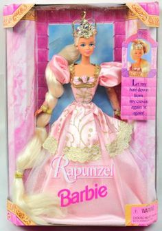 Barbie Rapunzel Doll Long Hair and Crown 1997 NIB