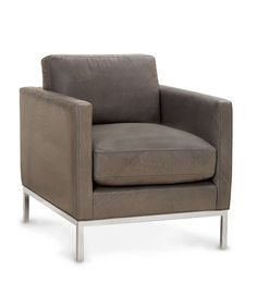 Lee Industries Tampa Pewter Leather ChairGray-toned leather and a polished stainless steel base combine for a chair that boasts mid-century modern styling that's striking in its effortlessness. The Tampa Pewter Leather Chair is a handsome addition to a home office, a personal library, or a great room where feminine touches are tempered with masculine influences.
