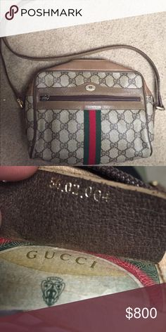 """Authentic Gucci Canvas Crossbody - Guccissima canvas with leather trim.- Light fine golden hardware.- Adjustable shoulder strap; 21.3"""" drop.- Leather string with interlocking G charm.- Zip top closure.- Natural cotton lining.- One open pocket; eight card slots inside.- 6.7""""H x 8.7""""W x 2.8""""D.- Made in Italy. Gucci Bags Crossbody Bags"""