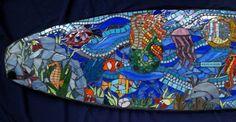 PieceMaker Mosaic Artists: PieceMaker Surfboard Bench, ready to Donate!