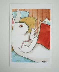 Reading to Mouse Fine Art Rabbit Print Bedroom or by bluedogrose, $18.00
