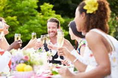 Group Of Friends Enjoying Outdoor Dinner Party by monkeybusiness. Group Of Friends Enjoying Outdoor Dinner Party Easy Summer Meals, Summer Recipes, Summer Bbq, Catering, Outdoor Dinner Parties, Organic Mulch, Brit, Best Insurance, Summer Dishes