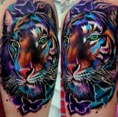 Colour tiger tattoo by Kirt Sliver