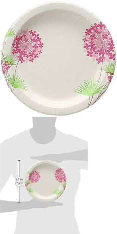 Outdoor Tableware 181383 Glad 8.5 Round Paper Plates Pink Hydrangea 50 Count -  sc 1 st  Pinterest & Outdoor Tableware 181383: Glad Bbp0103 Square 10. 25 Paper Plates ...