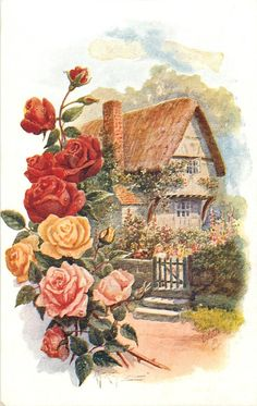 cottage with a girl at the gates of the fence, roses verge . - cottage with a girl at the gates of the fence, roses border left You are in the right place about Ac - Decoupage Vintage, Vintage Paper, Vintage Pictures, Vintage Images, Pretty Pictures, Vintage Greeting Cards, Vintage Postcards, Vintage Flowers, Vintage Floral