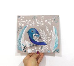 Blue Bird illustration Original wall art, Mixed media, winter decor by Elina Lorenz. Love.