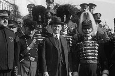 Pennsylvania National Guard Unit known as the Fencibles Visit President Coolidge at the White House in Dress Uniforms.