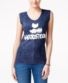 Hybrid Juniors' Sleeveless Woodstock Graphic Top | macys.com