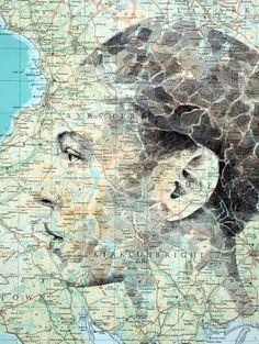 Simbiosis entre mapas e ilustración por Ed Fairburn | OLDSKULL