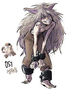 #57. Primeape (humanized/gijinka pokemon series by tamtamdi on tumblr)