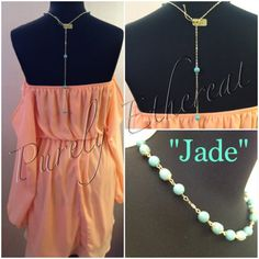 Jade - Jade Swarovski pearls and gold chain necklace with detachable back drop