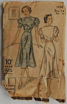 "1930s vintage Du Barry 1676B original sewing pattern women's dress bust 32""                                                                                                                                                     More"