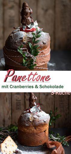 Rezept für einfachen italienischen Panettone aus Hefeteig mit Cranberries und Schokolade