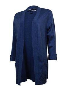 Karen Scott Women's Cuffed Cotton Knit Open Cardigan