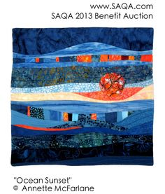 Art quilt by Annette McFarlane Textiles, Ocean Sunset, Fiber Art, Lust, Benefit, Artworks, Auction, Walls, Contemporary
