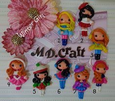 Set of Winter Girl Polymer  Clay Charm Bead Scrapbooking Embelishment Bow Center Pendant Cupcake Topper