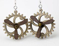 Spinning Propeller Gear Earrings  Laser Cut by GreenTreeJewelry