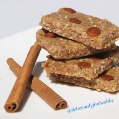 Ripped Recipes - Cinnamon No Bake Protein Bars - MIX in a food processor and PRESS into a pan! Thats it! Packed with protein soft, chewy and sweet!