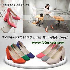 รองเท้าส้นสูงแฟชั่นเกาหลีหุ้มส้นหนังกลับคัทชูสตรีใส่สบาย นำเข้า ไซส์33-4...