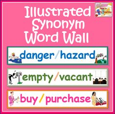 Illustrated Synonym Word Wall - 60 word cards - color + b version. Includes a large definition sentence strip.  Tiered words for grades 2, 3 and over. $ #ela #school