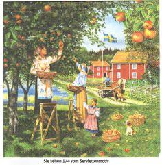 Bei der Apfelernte -  3 Servietten von Serviettenhaus auf DaWanda.com