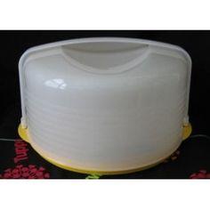 Tupperware Round Cake Taker W/yellow Base