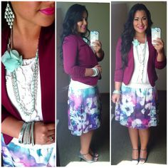 Floral print skirt cream top purple blazer mint jewelry gray heels modest spring fashion