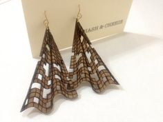 Grid Dangle Earrings - Natural Wood on Etsy, $25.00