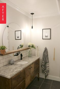 Love the mirror and shelf bisecting it. Also the tile floor. Before & After: A Tiny Bathroom Gets a Stylish Space-Maximizing Makeover | Apartment Therapy