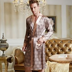 2016 Brand New Spring Men Bathrobe Kimono Robes V-neck Imitation Silk Male  Sleepwear Nightwear 6d9c97e46