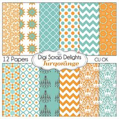 Turquoise Orange Digital Papers- Chevron & Quatrefoil -  , Backgrounds for Scrapbooking, Card Making, Crafts - Buy 2 Get 1 Free. $3.00, via Etsy.