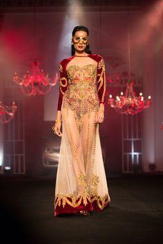 Red velvet Indian inspired outfit by Falguni & Shane Peacock. More here: http://www.indianweddingsite.com/bmw-india-bridal-fashion-week-ibfw-2014-falguni-shane-peacock-show/
