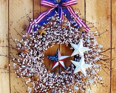 Summer Wreath-Door Wreath-WHITE Star/AMERICANA Star White Berry Wreath-Americana Wreath-Front Door Wreath-Door Decor-Military Wreath-SCENTED. $85.00, via Etsy.