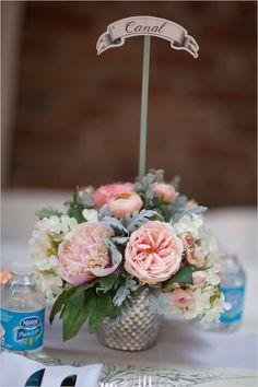new orleans street name table names #weddingreception #centerpiece #weddingchicks http://www.weddingchicks.com/2014/04/11/pink-party-wedding/