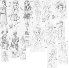 #Poses #Jacket #Shirt #Skirt #Hair #Trousers #Folds accessories and expressions 8 by FVSJ.deviantart.com on @deviantART