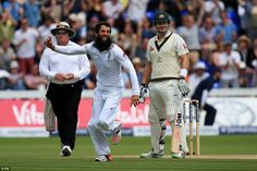 Moeen (centre) wheels away in celebration after the dismissal of Haddin as England took victory in the first Test of the Ashes