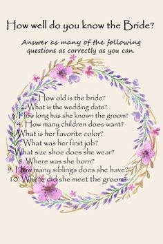How well do you know the bride. Bridal shower game.