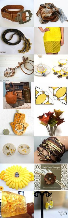 Brown and yellow by Luba Dragun on Etsy--Pinned with TreasuryPin.com
