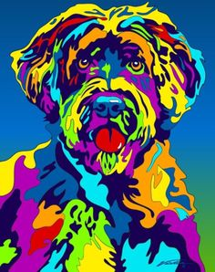 Multi-Color Portuguese Water Dog Breed Matted Prints & Canvas Giclées