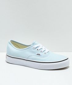 A look that never falls out of style, Vans' line of Authentic shoes receive a new ochre and white colorway, a perfect addition to any wardrobe seeking some clean cut edge. Designed with all the classic details, the shoes embody a canvas upper, cushioned f Baby Blue Shoes, Blue Heels, Vans Azul, Vans Shoes Women, Blue Vans, Aesthetic Shoes, Vans Authentic, Skate Shoes, Casual Sneakers