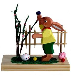 Erzgebirge Handcarved Easter Collectible Boy Bunny with Easter Eggs at Fence