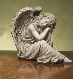 """15"""" Tranquil Sleeping Angel Outdoor Patio Garden Statue by CC Outdoor Living. $129.99. Tranquil Sleeping Angel Garden StatueItem #19177Features nice, natural gray tones with a few mossy-green highlights through-outFor indoor/outdoor useDimensions: 15""""H x 16""""W x 11.5""""DMaterial(s): resin/stone mix"""