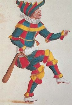 Actors/Clowns were probably the first in history to wear color blocking within single items of clothing . . .    An actor in a 17th century masque wears a costume by Ludovico Burnacini (probably for the Harlequin character).
