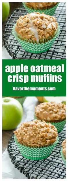 Apple Oatmeal Crisp Muffins are apple oatmeal muffins packed with fresh apple…