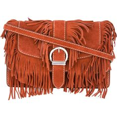 Barbara Bui fringed cowboy shoulder bag (€990) ❤ liked on Polyvore featuring bags, handbags, shoulder bags, brown, cowgirl purses, western purses, western handbags, cowgirl handbags and brown fringe handbag