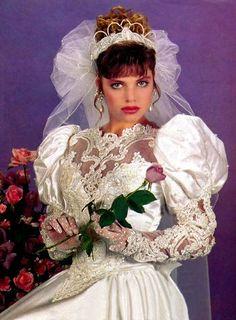 1980's or 90's                                                       … 1980s Wedding Dress, Retro Wedding Dresses, Vintage Dresses, Romantic Wedding Colors, Beautiful Wedding Gowns, Vintage Bridal, Wedding Bride, Wedding Styles, Bridal Gowns