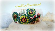 Spring 2017 beauties ,green gold decoupage bracelet,cuff bracelet,boho jewelry,decoupage jewelry,bohemian bracelet,unique,gift for her, by SueEllenDreamland on Etsy Bohemian Bracelets, Bohemian Jewelry, Cuff Bracelets, Unique Jewelry, Unique Gifts For Her, Flower Bracelet, Handmade Items, Handmade Gifts, My Heart Is Breaking