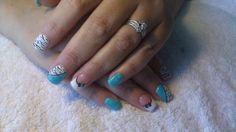 Blue zebra gel nails
